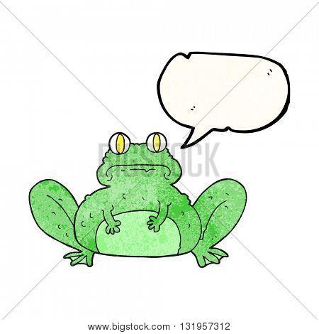 freehand speech bubble textured cartoon frog