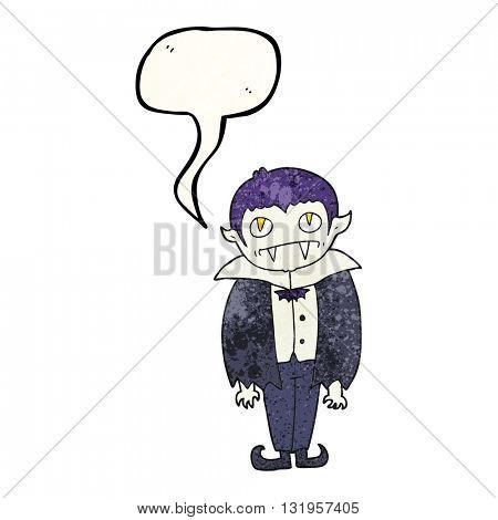 freehand speech bubble textured cartoon vampire boy
