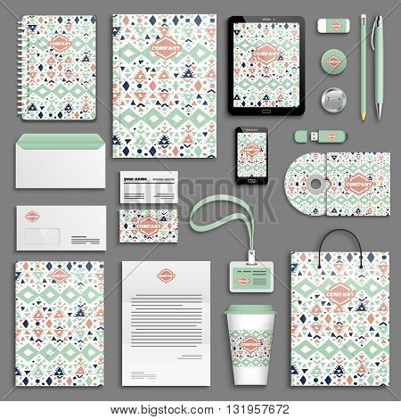 Trendy colorful mexican Corporate identity template set. Business stationery mock-up with logo. Branding design. Colorful geometric background.