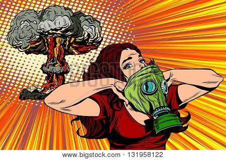 Nuclear explosion radiation hazard gas mask girl pop art retro vector. Radiation, biological and chemical hazards. Nuclear war pop art vector