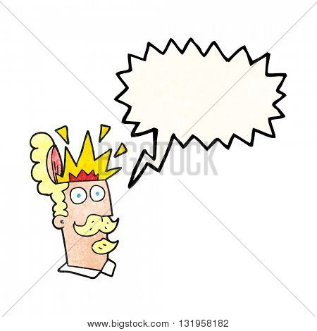 freehand speech bubble textured cartoon man with exploding head