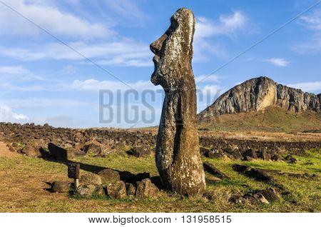 Standing Moai Near Ahu Tongariki, Easter Island, Chile