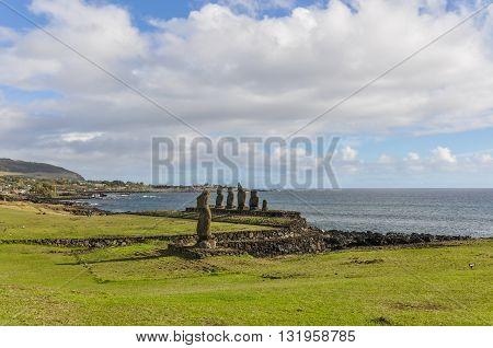 Moai Group In Ahu Tahai, Easter Island, Chile