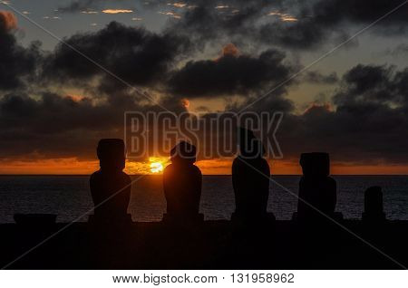 Sunset At Ahu Tahai In Easter Island, Chile