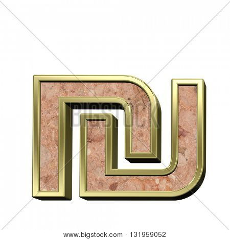 Sheqel sign from stone conglomerate with gold frame alphabet set isolated over white. 3D illustration.