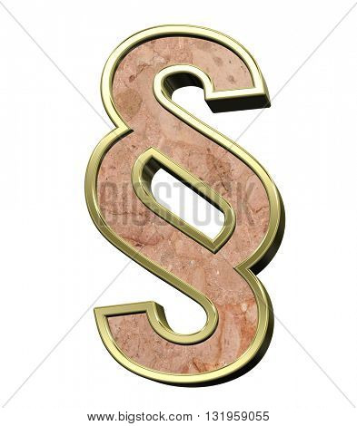 Paragraph sign from stone conglomerate with gold frame alphabet set isolated over white. 3D illustration.