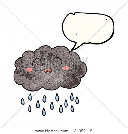 freehand speech bubble textured cartoon rain cloud