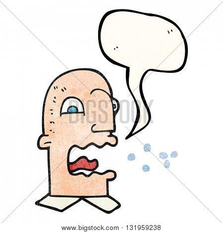 freehand speech bubble textured cartoon burping man
