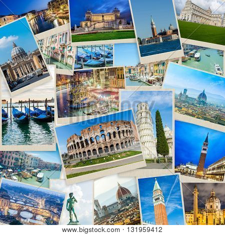 Set of Italy photos arranged in frame