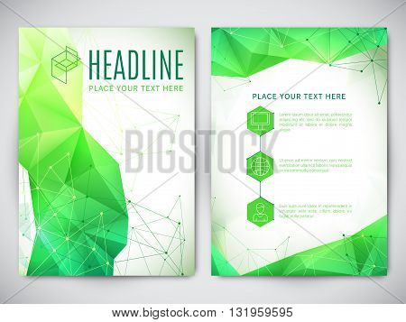 Geometric polygonal design of flyer, brochure or book cover