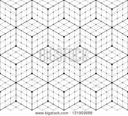 Black and white geometric mesh seamless pattern