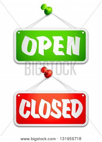 Open and closed door signs on white background