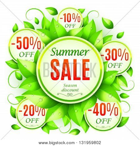 Summer sale background decorated with fresh green leaves