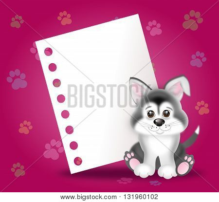 Cute puppy illustration on pink background with dog paws and paper sheet