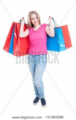 Concept Of Shopping With Happy Woman Holding Bags
