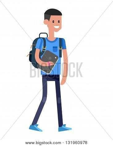 Vector detailed character flat design child student. Kids  smiling holding Gadgets and backpacks. Primary or elementary school child character. Vector child character isolated on white background