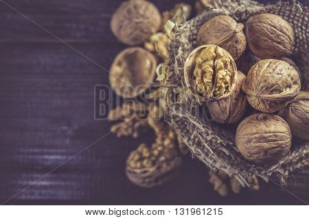 Walnuts In Small Burlap Bag