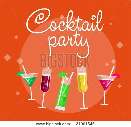 Cocktail party summer poster with alcohol drinks in glasses on background vector illustration