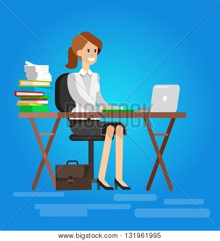 Woman teacher tutor at the desk in the classroom.  Flat teacher, style vector teacher, teacher illustration