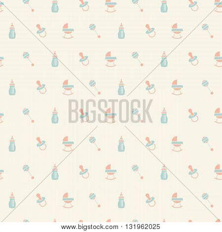 Baby seamless toys pattern. Design for fabric web background cards prints of baby goods.Vector illustration.