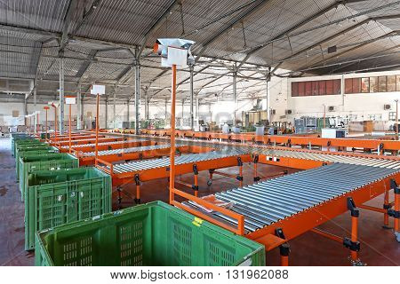 Conveyor Belt System For Sorting in Warehouse