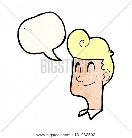 freehand speech bubble textured cartoon smiling man
