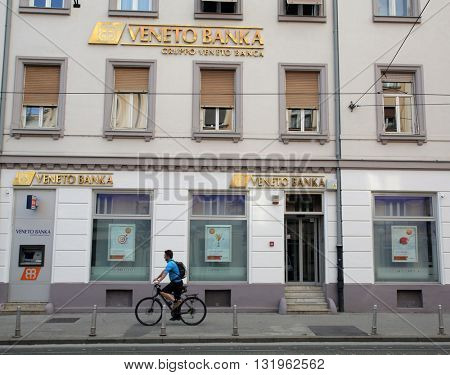 ZAGREB, CROATIA - MAY 26, 2016: The exterior of a Veneto Banka  d.d. branch office.
