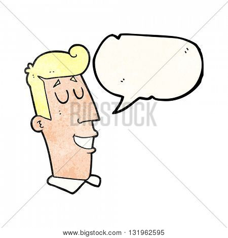 freehand speech bubble textured cartoon grinning man
