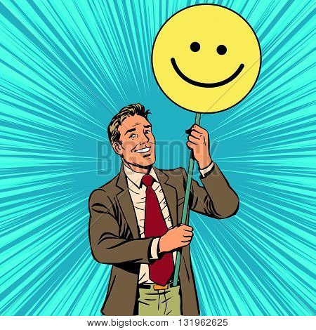 Protester with a poster Emoji smiley pop art retro vector. Smile joy positive. Political support