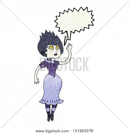 freehand speech bubble textured cartoon vampire girl waving
