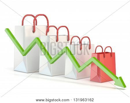 Shopping bag decreasing chart. Sales reduction chart. 3D render illustration isolated on white background