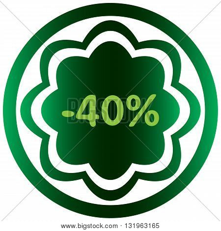 Green icon the button with a symbol of percent