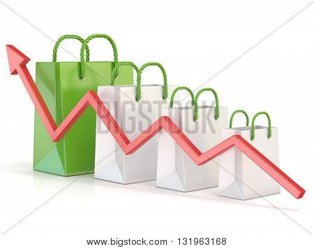 Shopping bag increasing chart. Sales growth chart. 3D render illustration isolated on white background