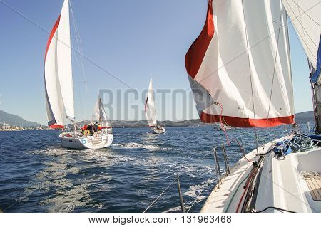 Tivat, Montenegro - 26 April, Sailboat coming one after the other, 26 April, 2016. Regatta