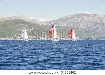 Tivat, Montenegro - 26 April, Regatta taking place at the mountain coast, 26 April, 2016. Regatta