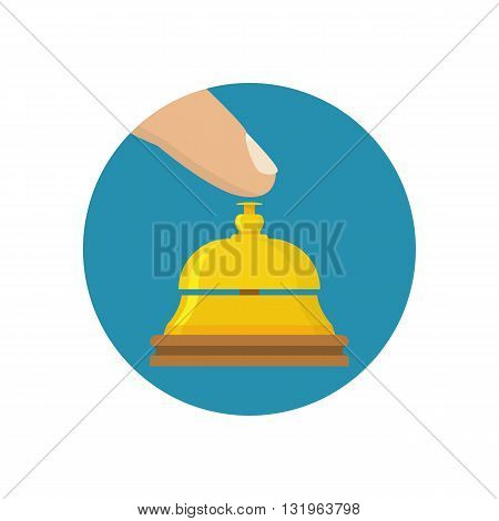 Hotel bell icon. Finger presses service call icon flat design style. Vector illustration. Counter bell hotel. Tap the bell. Hand ringing in service bell.