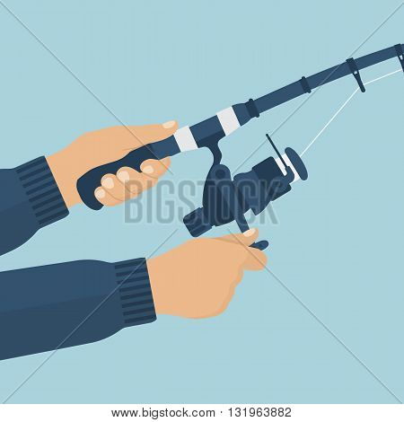 Fishing rod in the hands of men fisherman. Vector illustration of a flat design. Fishing rod closeup. Holding fishing rod reel fishing line.