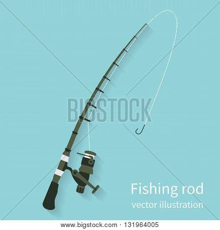 Fishing rod vector illustration flat design style. Fishing equipment. Rod spinning isolate on background with shadow. Icon rods.