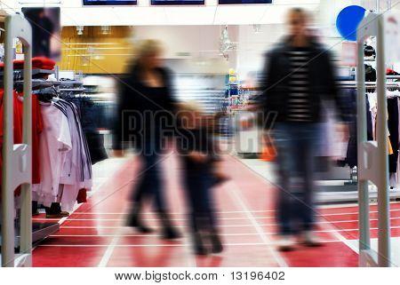 Family in shopping center