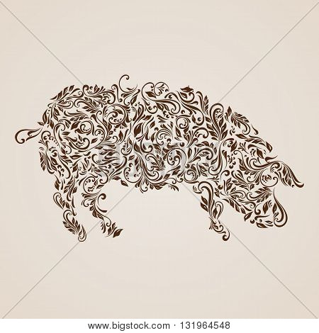 Floral pattern of vines in the shape of a pig on a beige background