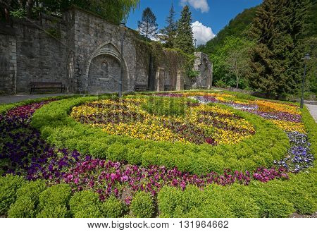 Beautiful flowered bed on terrace of Lillafured park.