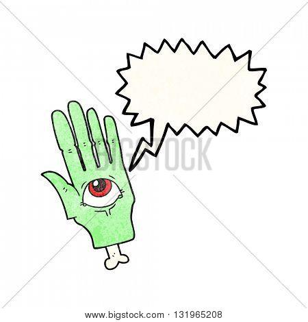 freehand speech bubble textured cartoon spooky eye hand