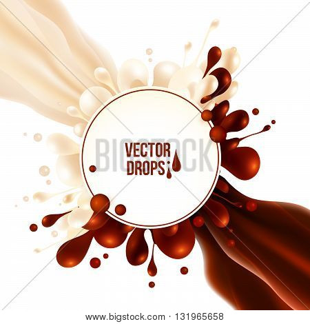 Vector milk and chocolate flows with round drops splash and circle banner