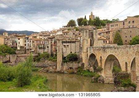 View on Besalu, a medieval village in Catalonia, Spain