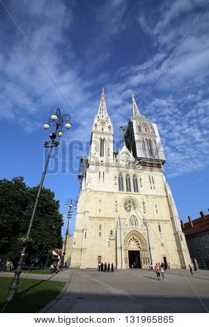 ZAGREB, CROATIA - MAY 26, 2016: An exterior view of the The Zagreb Cathedral on Kaptol. The church is the tallest building in Croatia