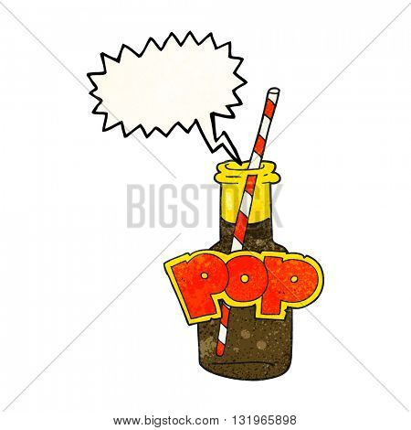 freehand speech bubble textured cartoon fizzy drink bottle