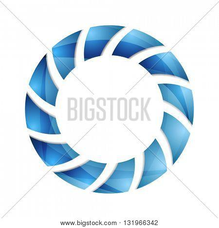 Blue abstract concept circle logo design. Vector technology background
