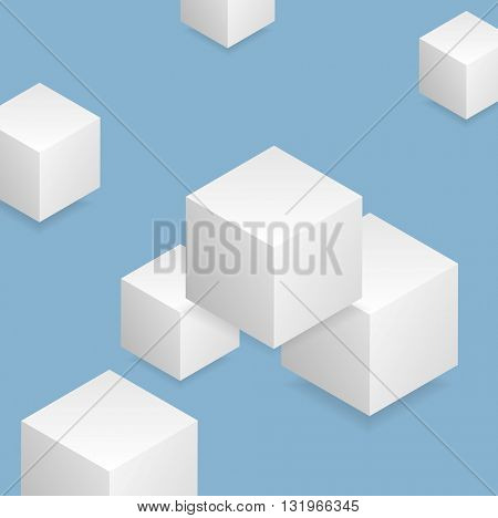 Bright blue tech geometric background with cubes. Vector design