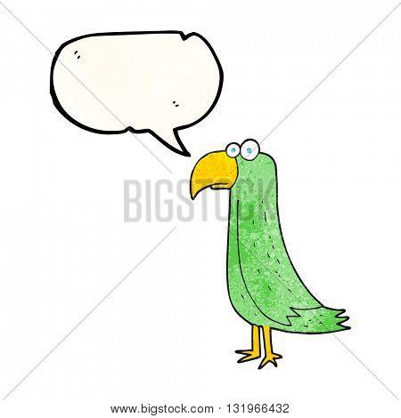 freehand speech bubble textured cartoon parrot