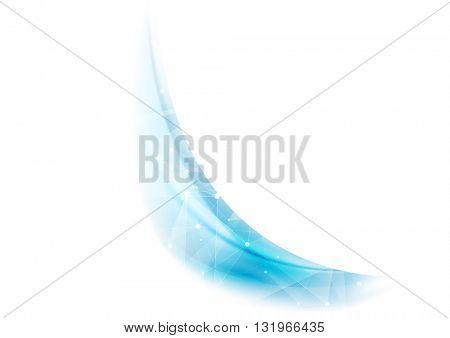 Blue wavy background with low poly structure. Vector tech polygonal wavy background